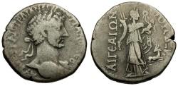 Ancient Coins - Hadrian. Cilicia. Aigeai AR Tridrachm / Amaltheia as City Goddess