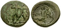 Ancient Coins - Pisidia. Etenna Æ14 / Woman Holding Serpent