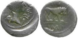Ancient Coins - Imperatorial. Mark Antony (43-33 BC) with M. Aemilius Lepidus AR Quinarius / Lion