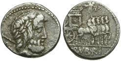 Ancient Coins - 87 BC - Roman Republic. L. Rubrius Dossenus AR Denarius / Triumphal Quadriga
