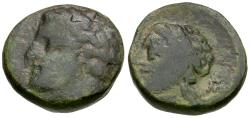 Ancient Coins - Thessaly. Gyrton Æ18 / Nymph