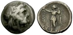 Ancient Coins - Boeotia.  Federal Coinage, AR Drachm / Poseidon / Nike