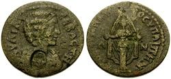 Ancient Coins - Julia Domna, Wife of Septimius Severus, Lydia Hypaepa Æ23 / Cultus Statue of Artemis