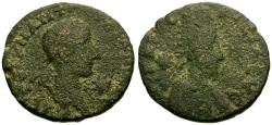 Ancient Coins - gF/gF Gordian III, Mesopotamia Edessa Æ23 / Abgar X