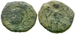 Ancient Coins - Constantine I the Great. Imitative Constantinopolis Commemorative Æ Nummus / Victory on Prow