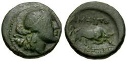 Ancient Coins - Macedon. Amphipolis Æ20 / Apollo & Bull