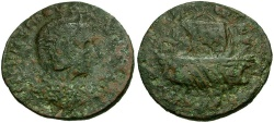 Ancient Coins - Tranquillina. Uncertain Provincial mint Æ27 / Galley