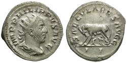 Ancient Coins - Philip I (AD 244-249) AR Antoninianus / Wolf & Twins