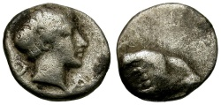 Ancient Coins - Caria.  Uncertain Mint AR Hemiobol / Ram's Head
