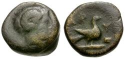 Ancient Coins - Macedon. Aphytis Æ11 / Zeus Ammon / Eagle