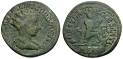 Ancient Coins - Gordian III. Pisidia. Antioch Æ28 / Tyche and River god
