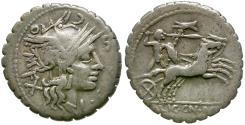 Ancient Coins - 118 BC - Roman Republic. L. Cosconius, L. Licinius and Cn. Domitius AR Serrate Denarius / Celtic Warrior