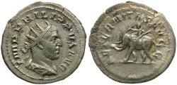 Ancient Coins - Philip I (AD 244-249) AR Antoninianus / Elephant and Mahout