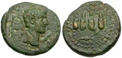 Ancient Coins - Claudius (AD 41-54). Lydia. Philadelphia Æ17 / Grain Ears
