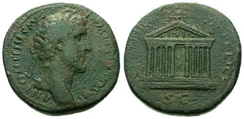 Ancient Coins - gF+/gF+ Antoninus Pius AE Sestertius / Temple of Roma