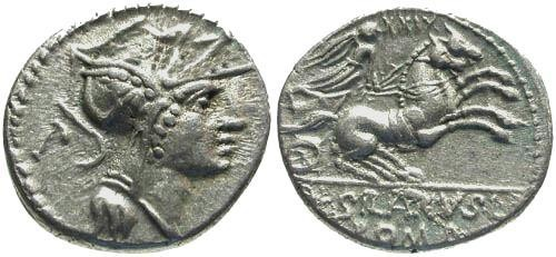 Ancient Coins - 91 BC / aVF/VF Junia 15 Roman Republic Denarius / Victory in biga