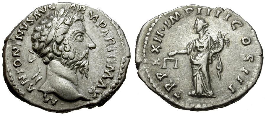 Ancient Coins - Marcus Aurelius AR Denarius / Aequitas