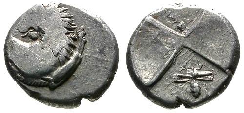 Ancient Coins - aVF/VF Thrace Cherronesos AR Hemidrachm / Lion and Bee