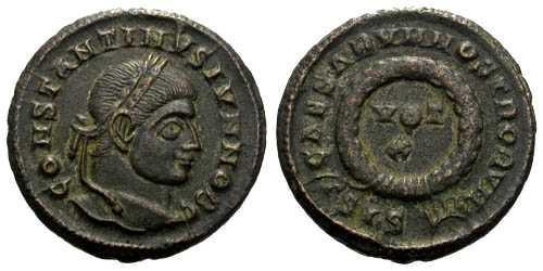 Ancient Coins - VF+/ aVF Constantine II AE3 / Votive