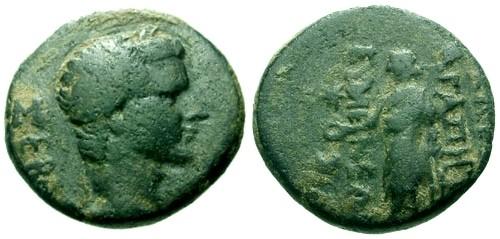 Ancient Coins - VF/VF Tiberius Phrygia Eumenia AE18 / Zeus