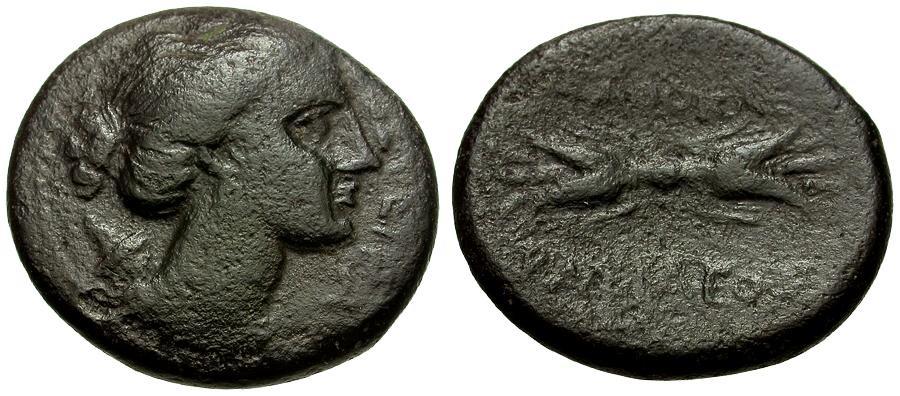 Ancient Coins - Sicily.  Syracuse.  Agathokles Æ22 / Artemis / Thunderbolt