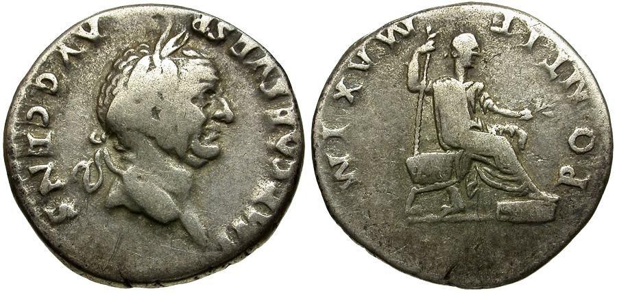 Ancient Coins - Vespasian AR Denarius / Emperor Seated on Curule Chair