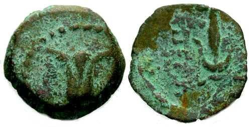 Ancient Coins - F+/F+ Antiochus VII Jerusalem mint AE / Lily and anchor