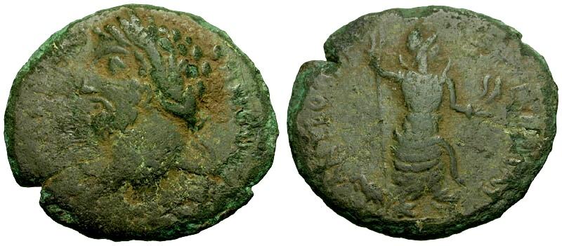 Ancient Coins - Commodus, Pisidia Antioch Æ23 / Men