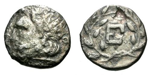 Ancient Coins - F/F Peloponnesus Argolis Epidaurus AR Hemidrachm / Asklepios and Wreath