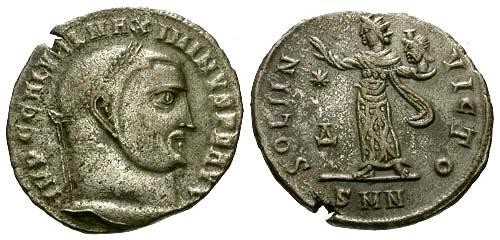 Ancient Coins - VF/VF Maximinus Silvered Follis / Sol with Head of Serapis