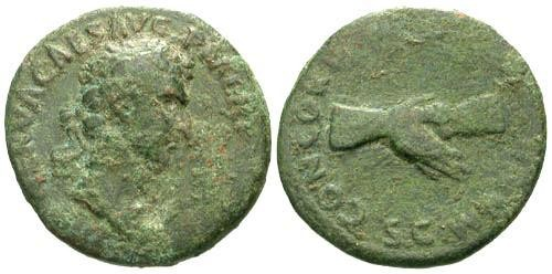 Ancient Coins - F/F Nerva AE AS / Clasped Hands