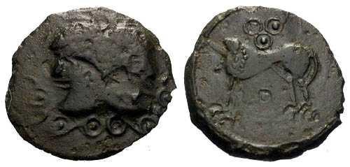Ancient Coins - VF/VF Suessiones Bronze / Janiform Bust & Lion