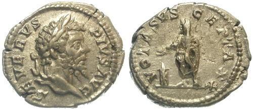 Ancient Coins - VF/aVF Septimius Severus AR Denarius / Sacrificing