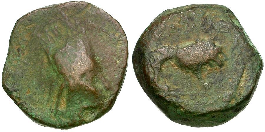 Ancient Coins - Kings of Commagene. Antiochos I Theos (69-34 BC) Æ Tetrachalkon / Lion