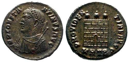 Ancient Coins - aEF Constantinus II AE3 Silvered / Campgate