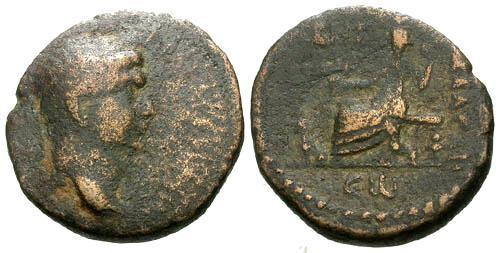Ancient Coins - F/F Trajan Seleucis & Pieria Gabala AE22 / Seated Goddess