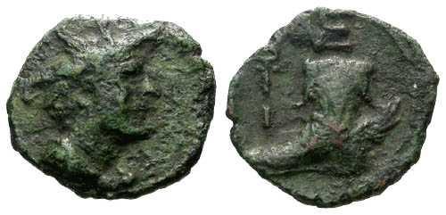 Ancient Coins - VF/VF Apulia Venusia  AE15 / Sandal of Hermes RRR!
