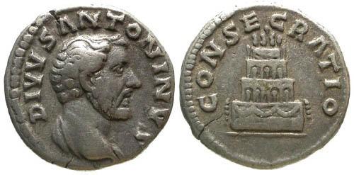 Ancient Coins - VF/VF Antoninus Pius Memorial Denarius / Four Tier Pyre