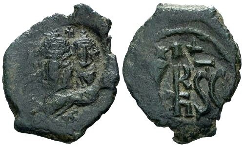 Ancient Coins - VF/VF Heraclius AE Follis Sicily mint / Counterstamps