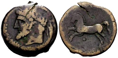 Ancient Coins - gF/gF Kings of Numidia Micipsa / Horse