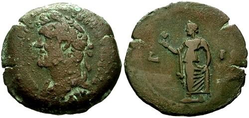 Ancient Coins - aVF/VF Antoninus Pius Egypt Alexandria AE Drachm / Spes