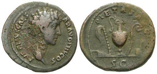 Ancient Coins - gF/gF Marcus Aurelius as Caesar AS / Sacrificial Implements