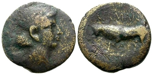 Ancient Coins - F/F Gaul Leuci Tribe AE Semis under Augustus / female head / Bull