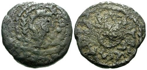 Ancient Coins - aVFa/VF Herod the Great Double Prutot / Tripod Table