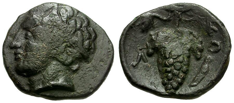 Ancient Coins - Lokris.  Lokris Opuntii Æ14 / Apollo and Grapes