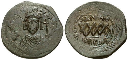 Ancient Coins - EF Focas AE Follis overstruck on Maurice Tiberius