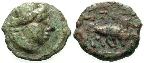 Ancient Coins - gF/gF AE13 of Massalia Gaul/ Bull