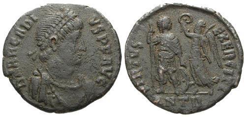 Ancient Coins - gF/gF Arcadius AE3, Antioch mint / Arcadius crowned by Victory