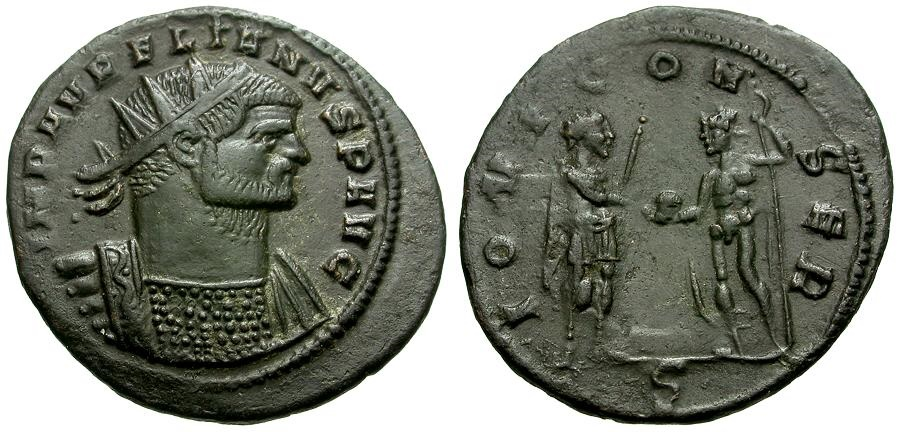 Ancient Coins - Aurelian Æ Antoninianus / Aurelian Receiving Globe from Jupiter