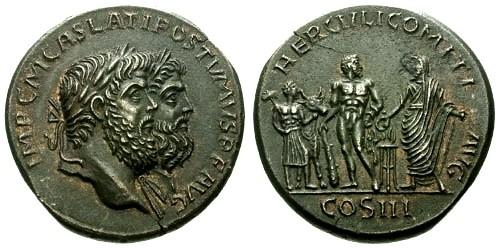Ancient Coins - Postumus and Hercules Grand Tour Fantasy Medallion